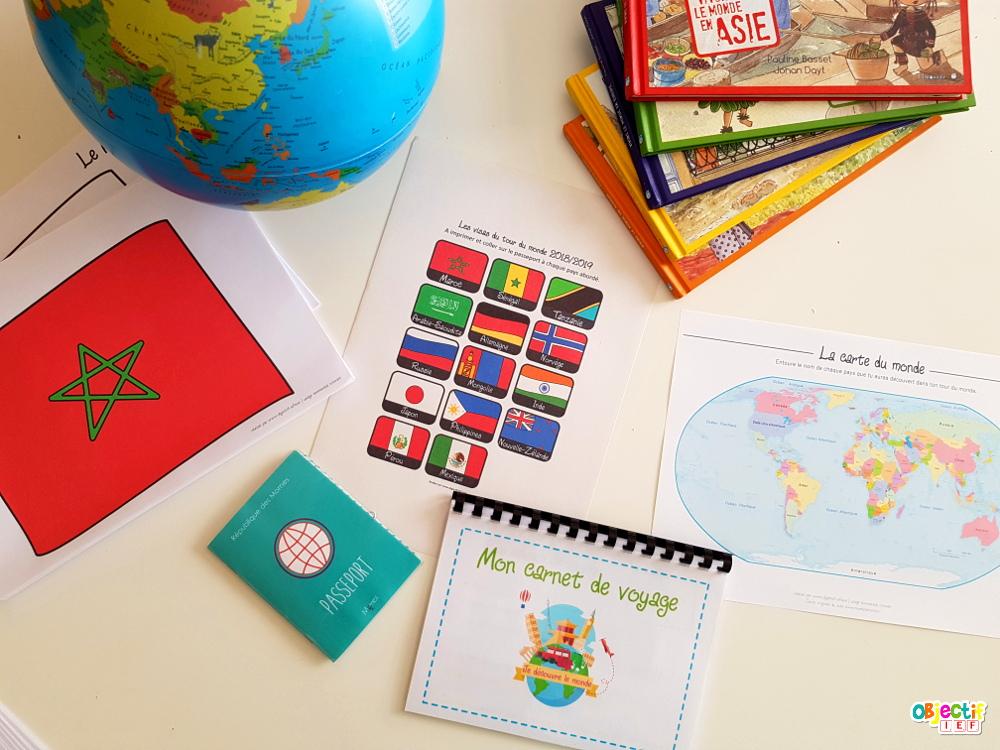 tour du monde IEF instruction en famille découverte du monde supports gratuit objectif ief