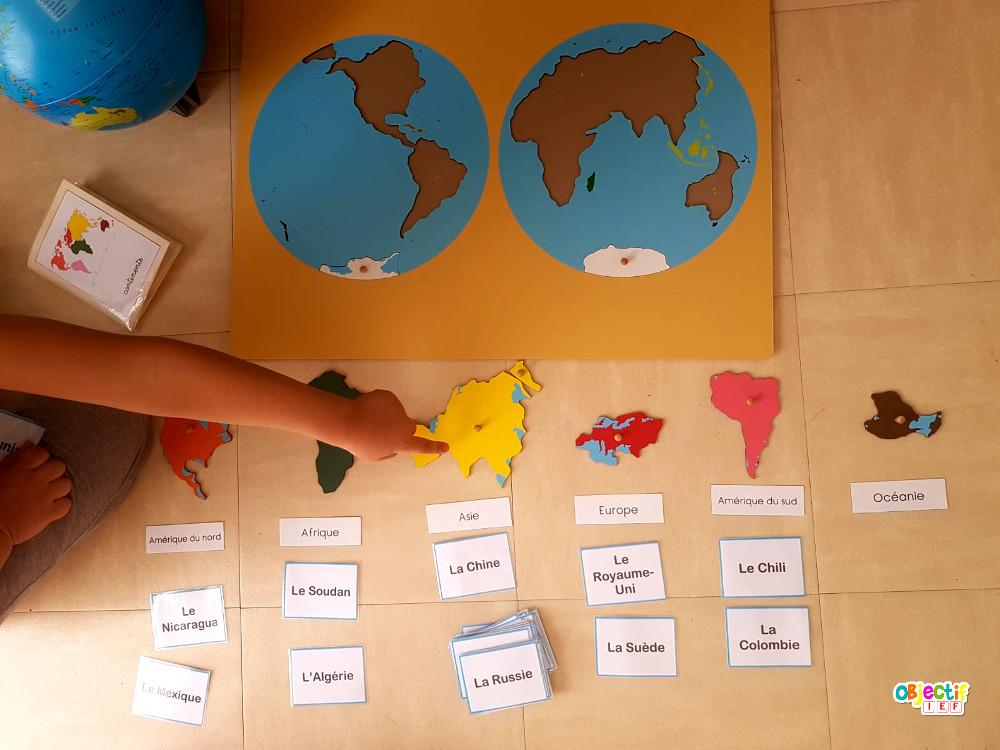 trouve son continent jeu montessori puzzle objectif ief