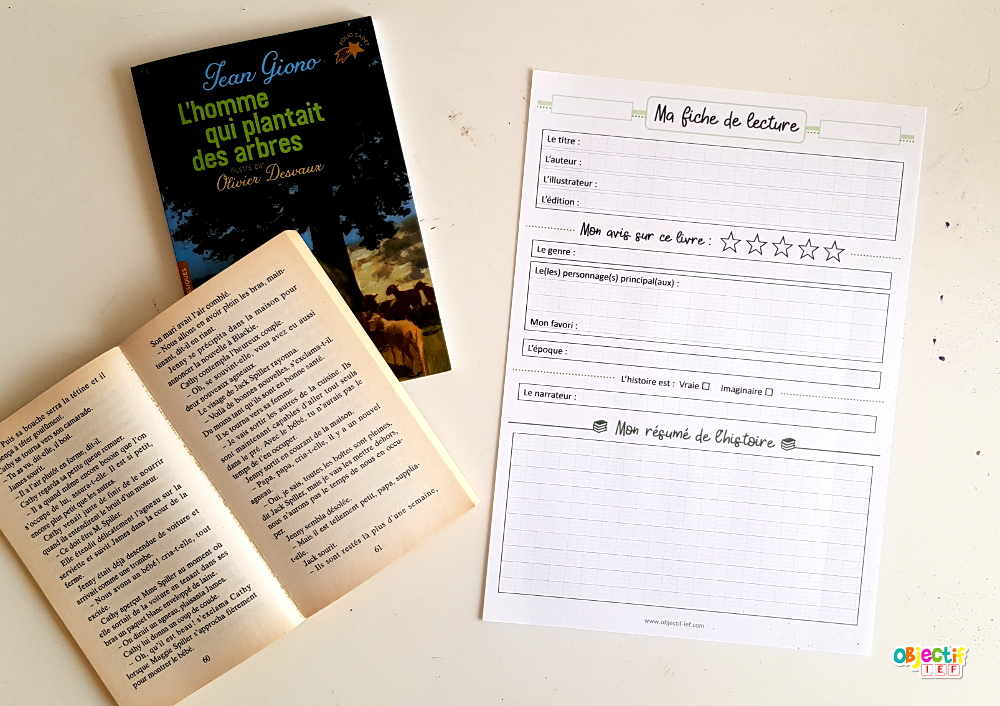 fiche de lecture oeuvre littéraire cycle 2 cycle 3 ief instruction en famille école à la maison Objectif ief