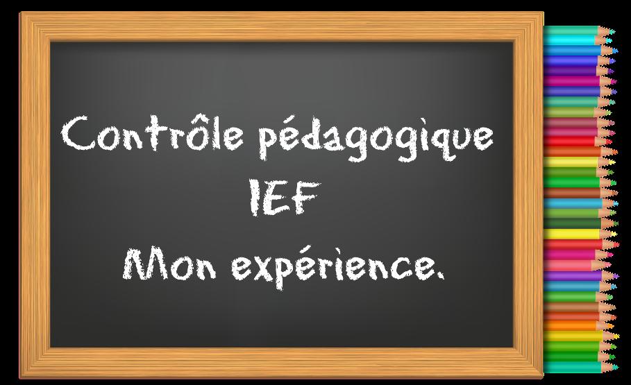 contrôle pédagogique mon expérience Objectif IEF