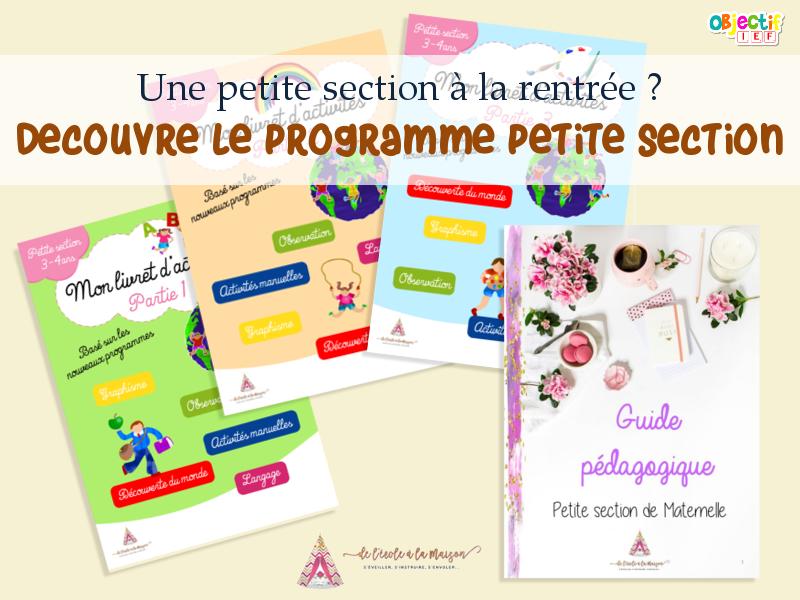 programme petite section PS de l'école à la maison